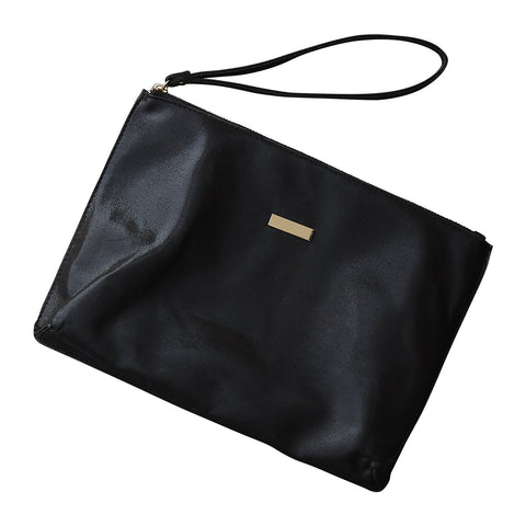 Chic Metallic Travel Clutch - Black
