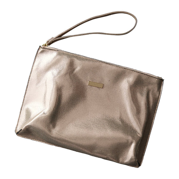 Chic Metallic Travel Clutch - Rose Gold