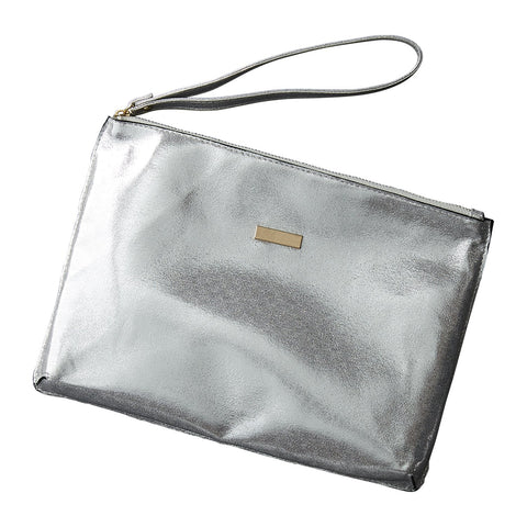 Chic Metallic Travel Clutch - Silver