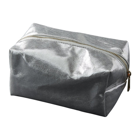 Chic Metallic Toiletry Bag - Silver
