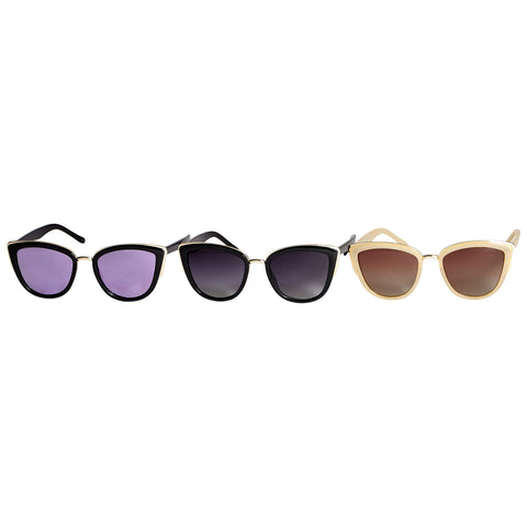 Kristin Polarized Cat Eye Sunglasses - 3 Pack