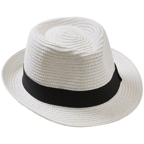 White Stripe Beach Fedora