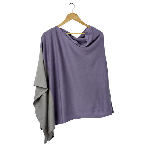 Color Block Cotton Poncho - Lavender