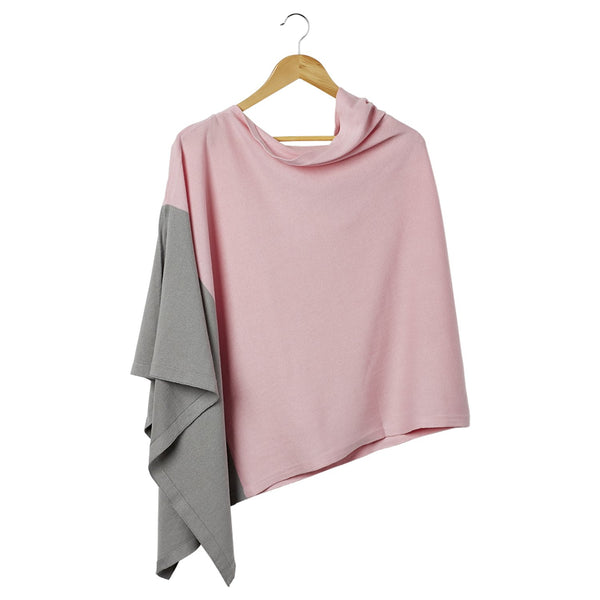 Color Block Cotton Poncho - Pink