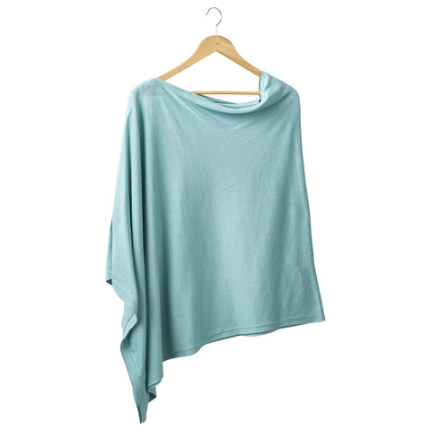 Solid Cotton Poncho - Aqua