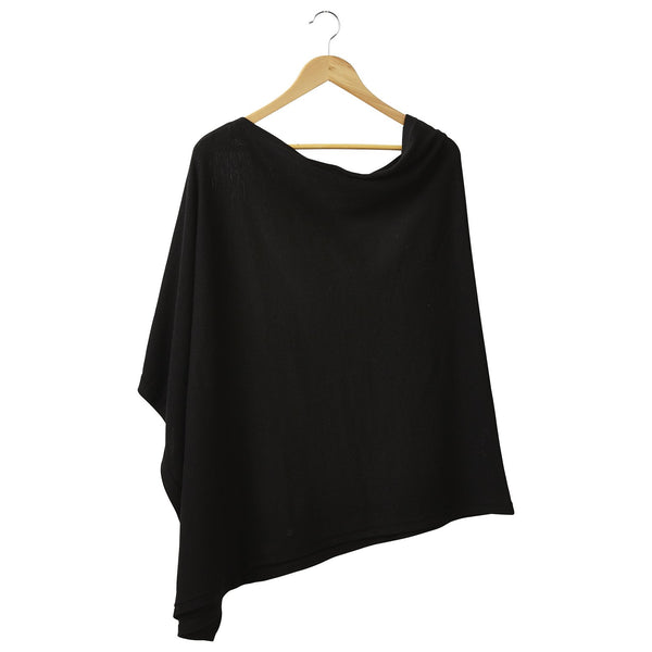 Solid Cotton Poncho - Black