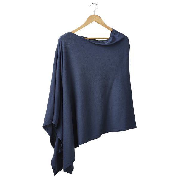 Solid Cotton Poncho - Slate Blue