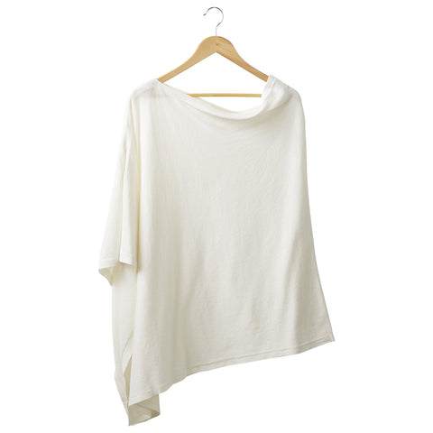 Solid Cotton Poncho - Ivory