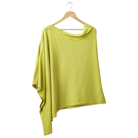 Solid Cotton Poncho - Lime