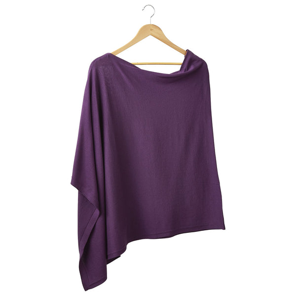 Solid Cotton Poncho - Purple