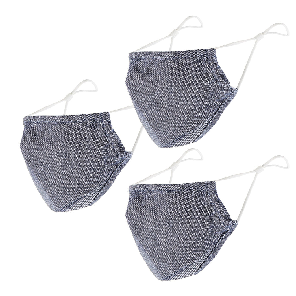 Cloth Face Mask Set of 3 - Denim Chambray - Bucky Products Wholesale