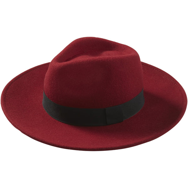 Wine Hilary Wool Panama Hat