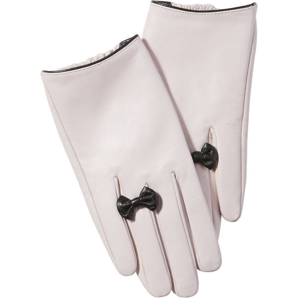 Pink Petite Bow Leather Gloves
