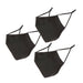 Cloth Face Mask Set of 3 - Solid Black - Bucky Products Wholesale