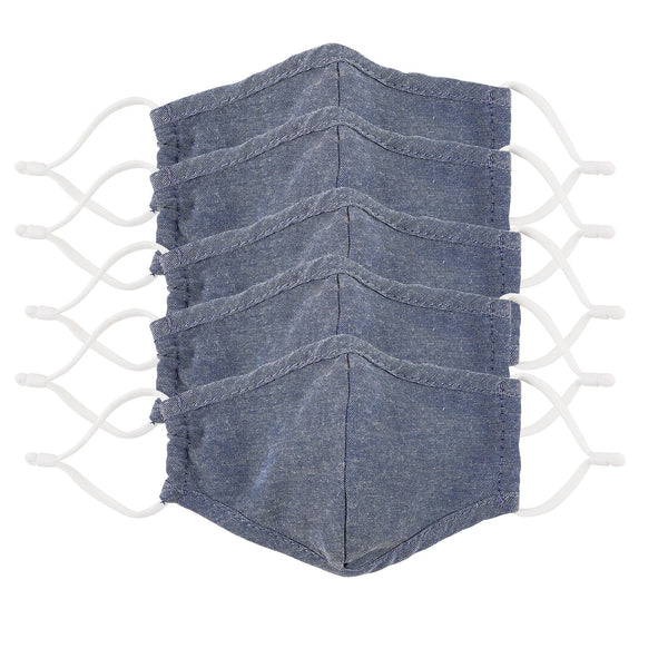 Kid's Denim Chambray Face Mask - Set of 5