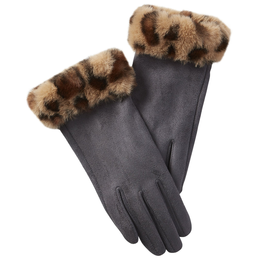 Leopard Fuzzy Gloves - Dark Gray
