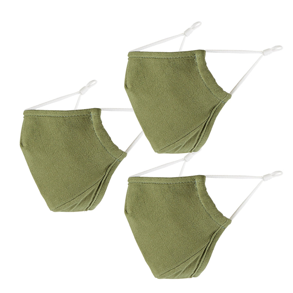 Cloth Face Mask Set of 3 - Olive Green - Bucky Products Wholesale