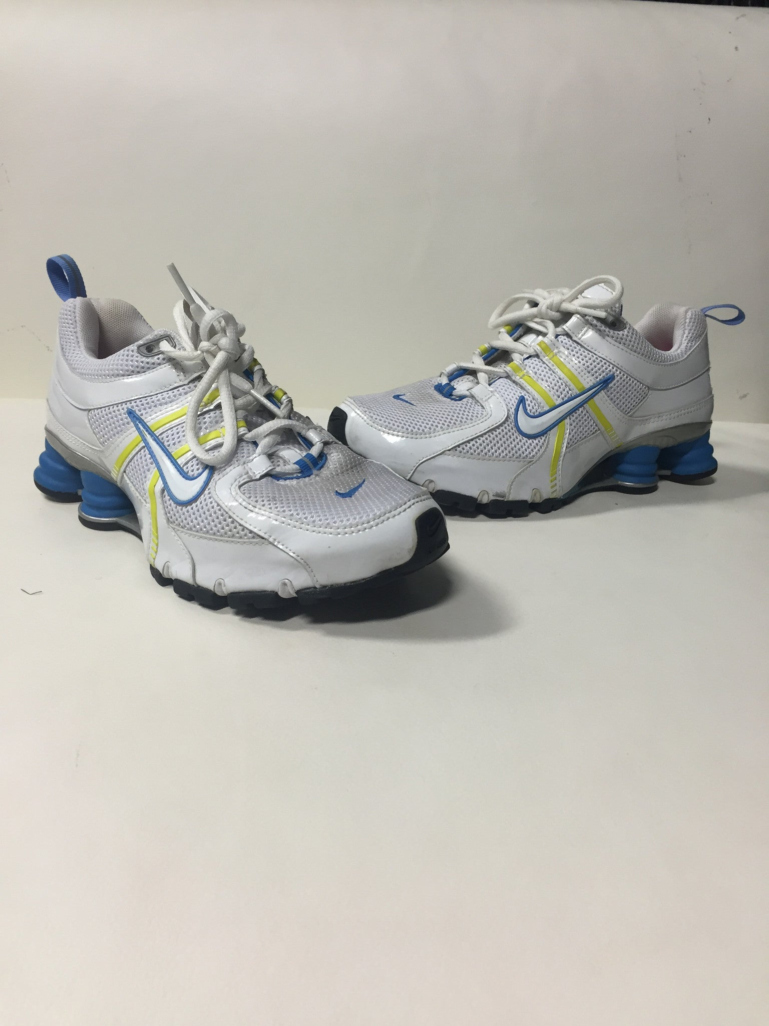 online store 82bf1 7dd0a Chalene Johnson s Blue and Yellow Nike Shox - Celebrity Rags - 1