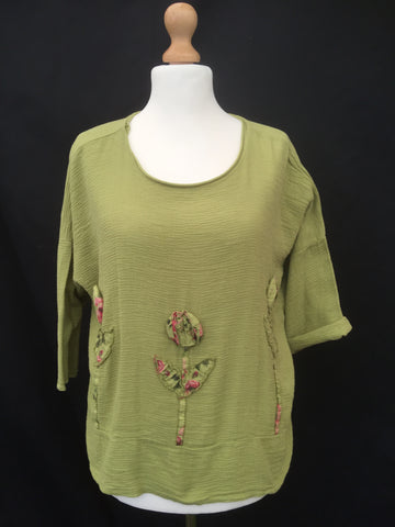 Linen boxy Flower Tunic top made in Italy green