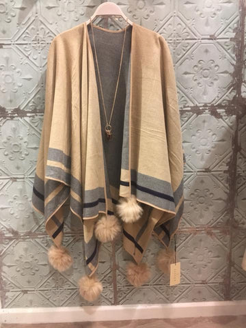 Reversible Cashmere Wrap - Grey/Beige
