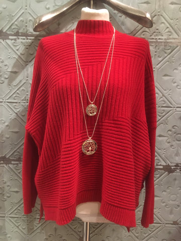 Uber Ribbed Jumper - Red