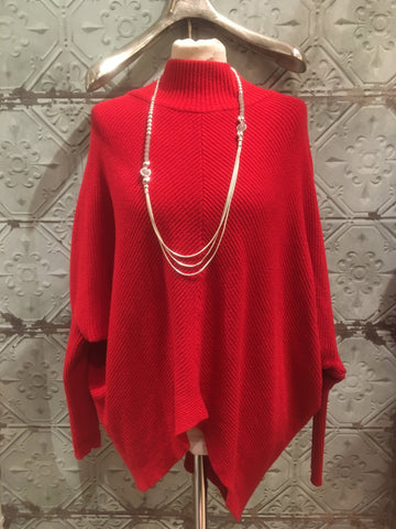 Uber Ribbed Jumper with Batwing - Red