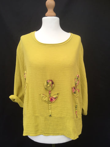 Linen boxy  Flower Tunic top made in Italy mellow yellow