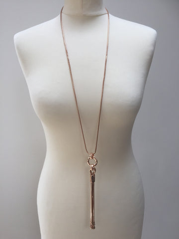 Envy rose gold necklace with heart tassle charm