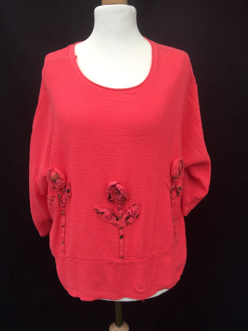 Linen boxy Flower top tunic made in Italy coral