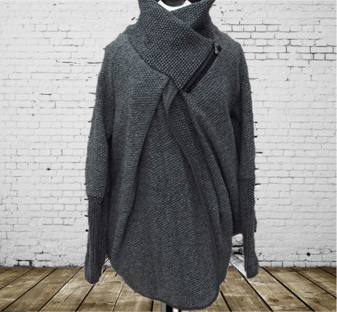 Coatigan Dark Grey - Made In Italy - One Size Fits All