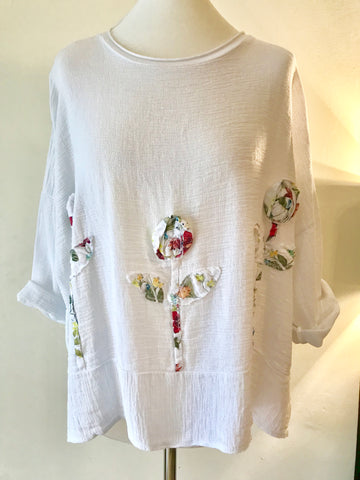 Linen boxy Flower Tunic top made in Italy - White