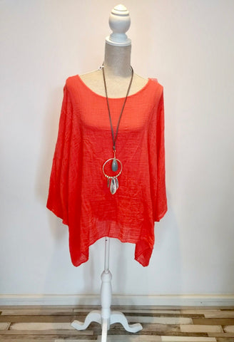 Janet top extra large batwing linen orange