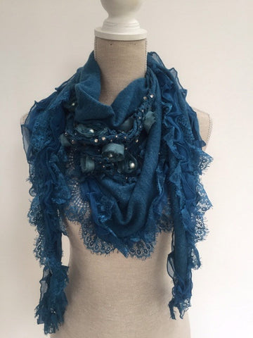 Italian Triangle Scarf with Crochet - Teal