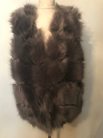 Faux Fur Gilet - Grey