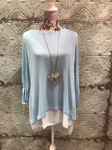 Layered Bow Back Top - Powder Blue