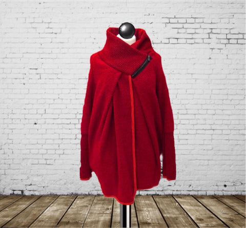 Coatigan Red - Made In Italy - One Size Fits All
