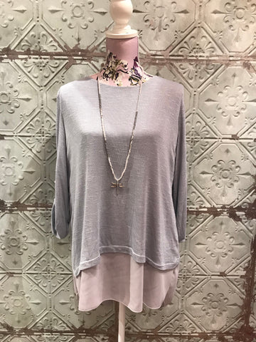 Layered Bow Back Top - Grey