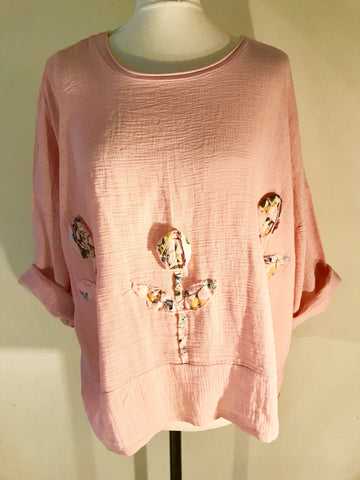 Linen boxy top tunic flower detail made in Italy Lagenlook baby pink