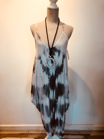 Jumpsuit hareem pants stray tie dye grey and white