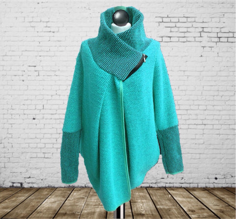 Coatigan Teal - Made In Italy - One Size Fits All