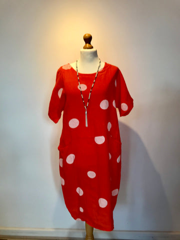 Spot linen pocket dress made in Italy