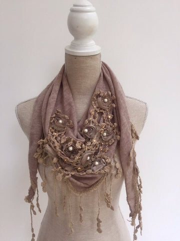 Italian Triangle Scarf with Crochet