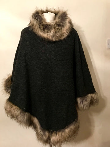 Faux Fur Poncho - Charcoal Black