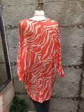 Zebra print fine knit batwing top tunic largenlook orange and white