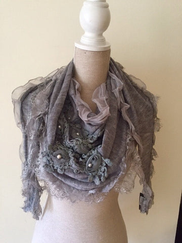 Italian Triangle Scarf with Crochet - Grey