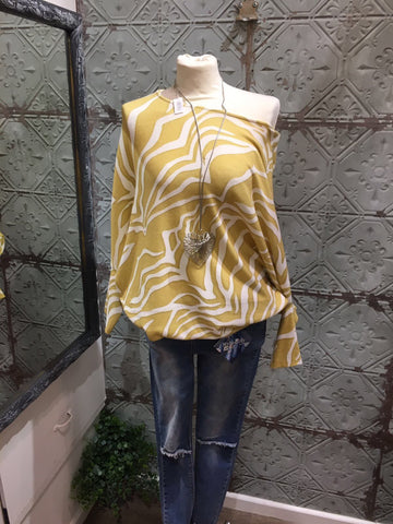 Zebra print soft knit batwing made in Italy lagenlook tunic top