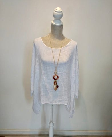 Janet top extra large linen white
