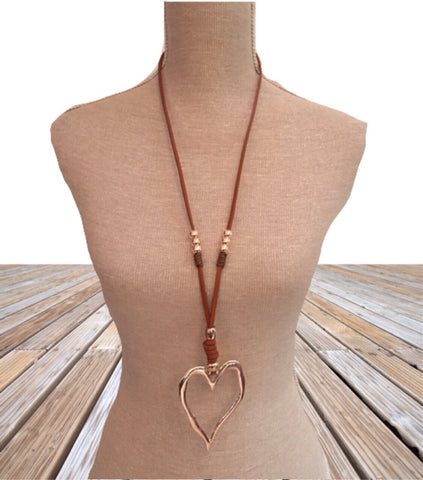 Long Brown leather strap heart necklace