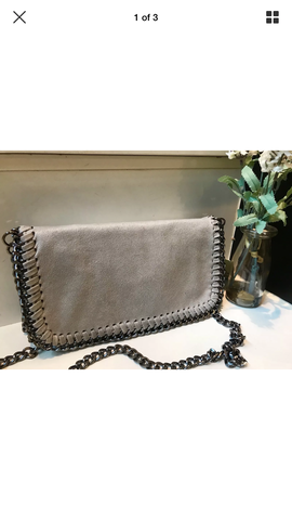 Stella inspired clutch bag grey chain detail