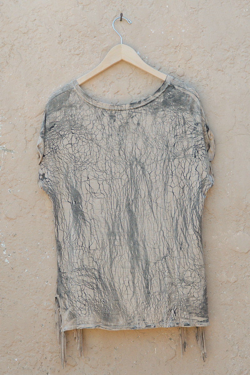 Hand Made Crackle Wash Fringe Tunic